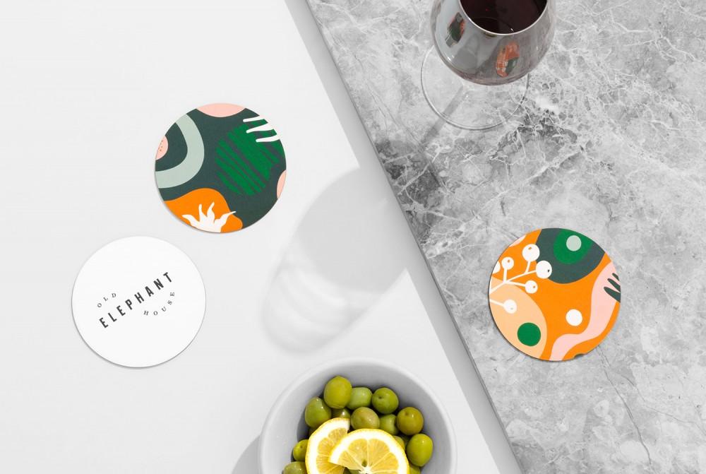 餐厅品牌VI设计,杯垫设计