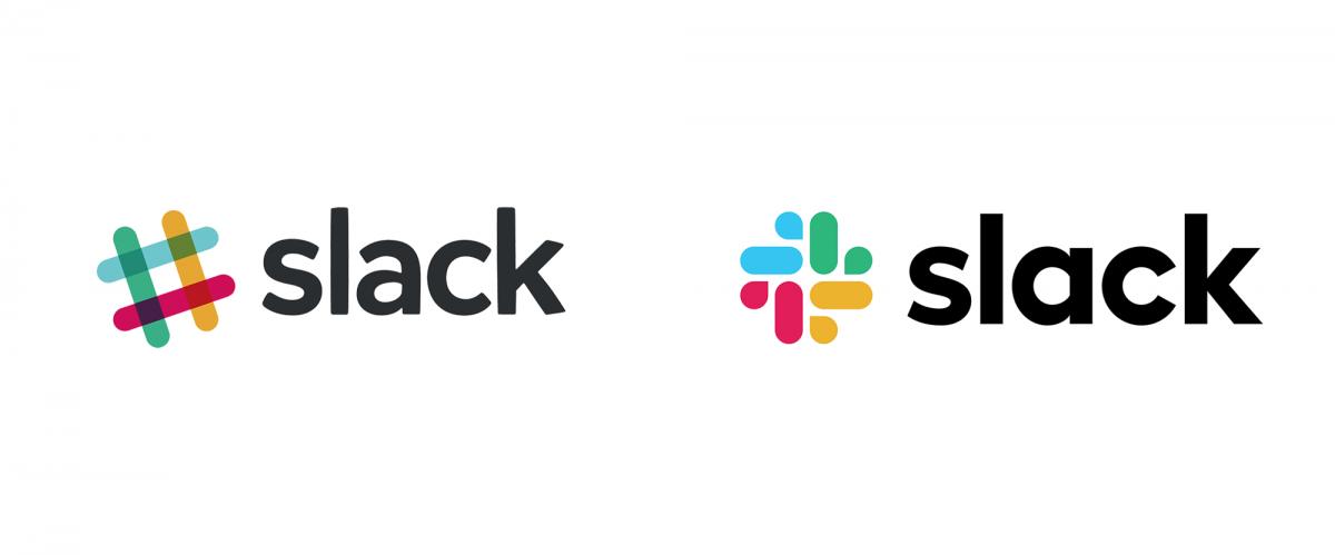 Slack品牌形象设计分析, 新旧logo设计对比