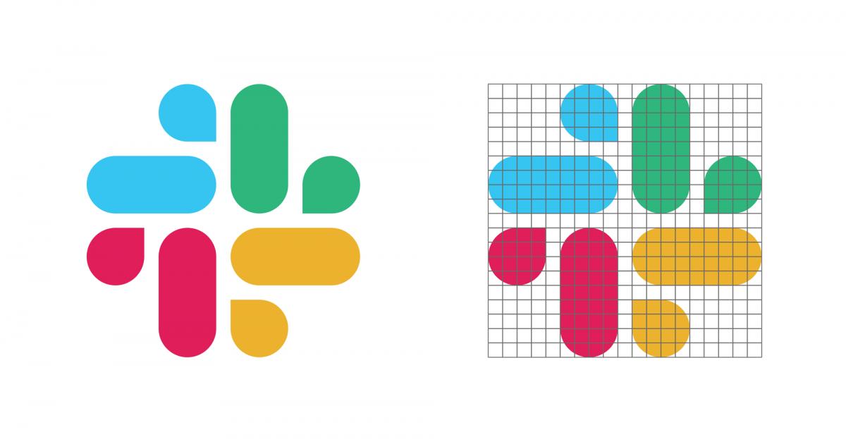 Slack品牌形象设计分析,图形标志与标志的网格化