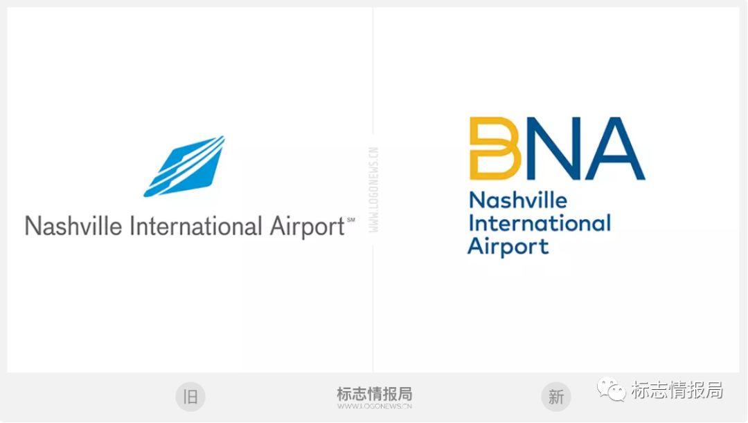 纳什维尔国际机场(BNA)logo设计前后对比