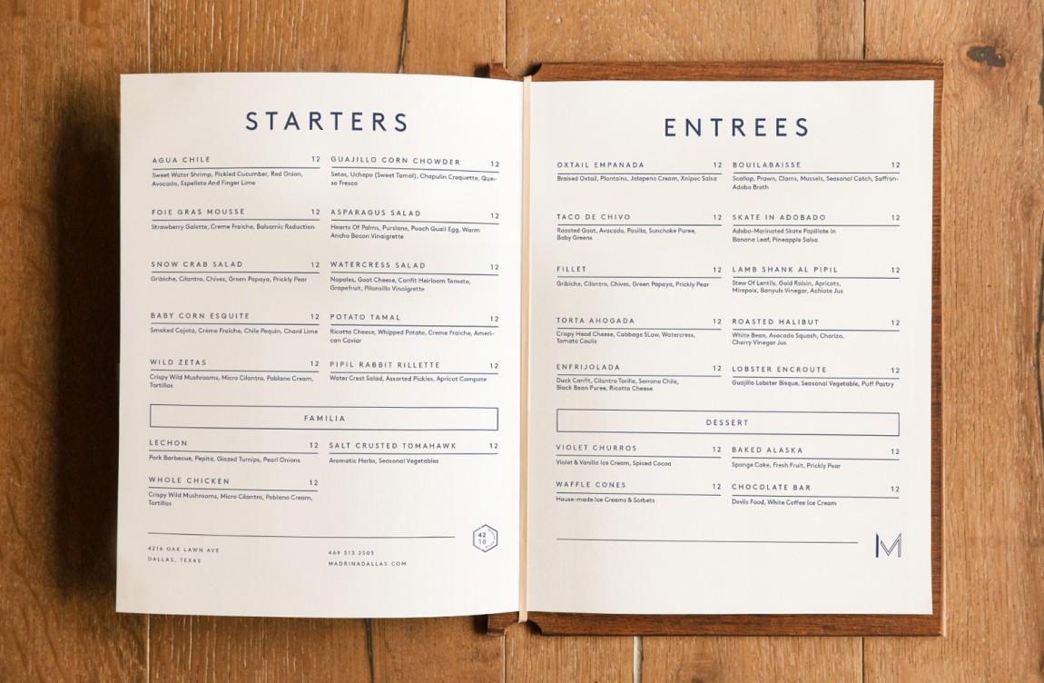 餐厅品牌视觉形象设计, 菜单设计