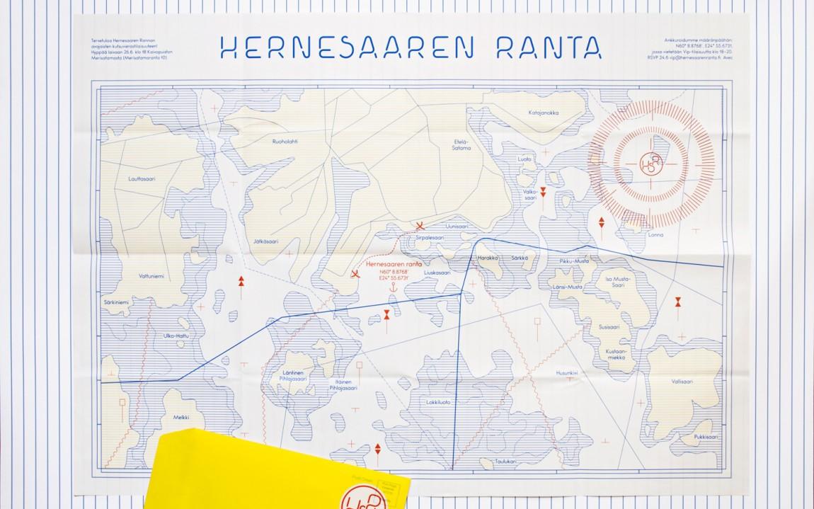 Brand identity and map for Finnish seaside area Hernesaaren Ranta by graphic design studio Werklig