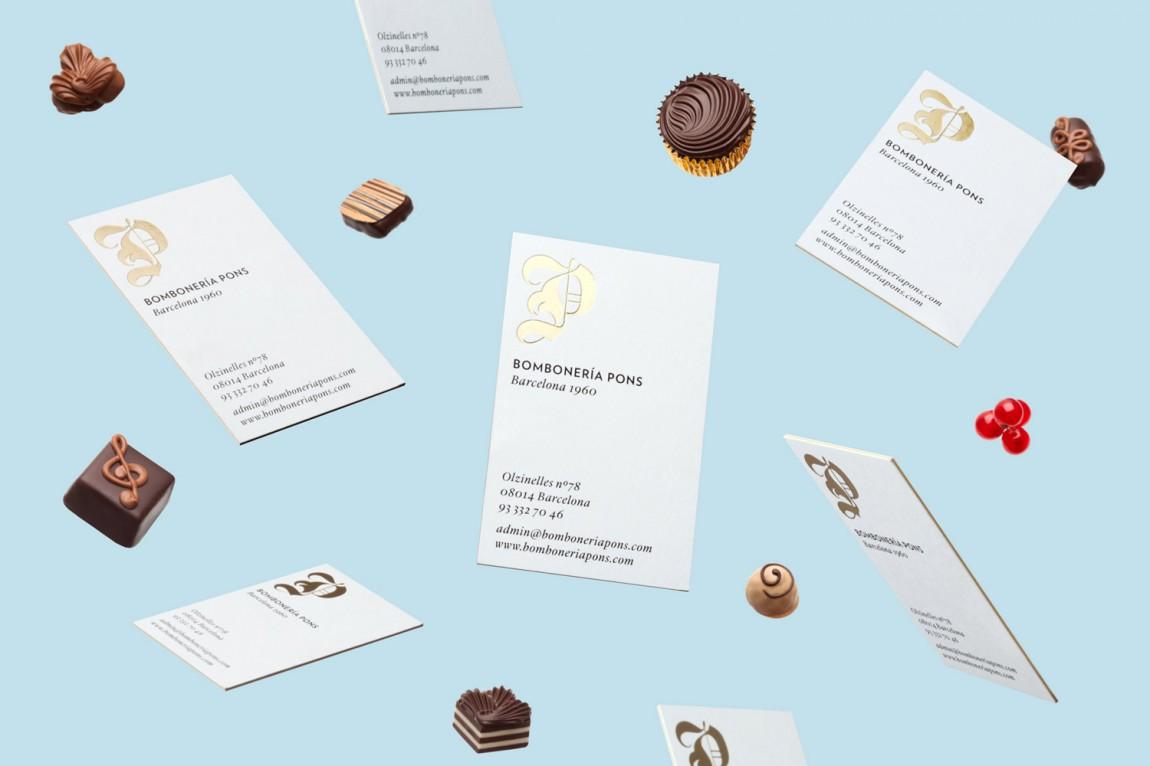 巴塞罗那手工巧克力企业 Bombonería Pons 创意品牌logo设计:宣传册设计