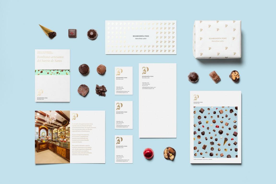 巴塞罗那手工巧克力企业 Bombonería Pons 创意品牌logo设计