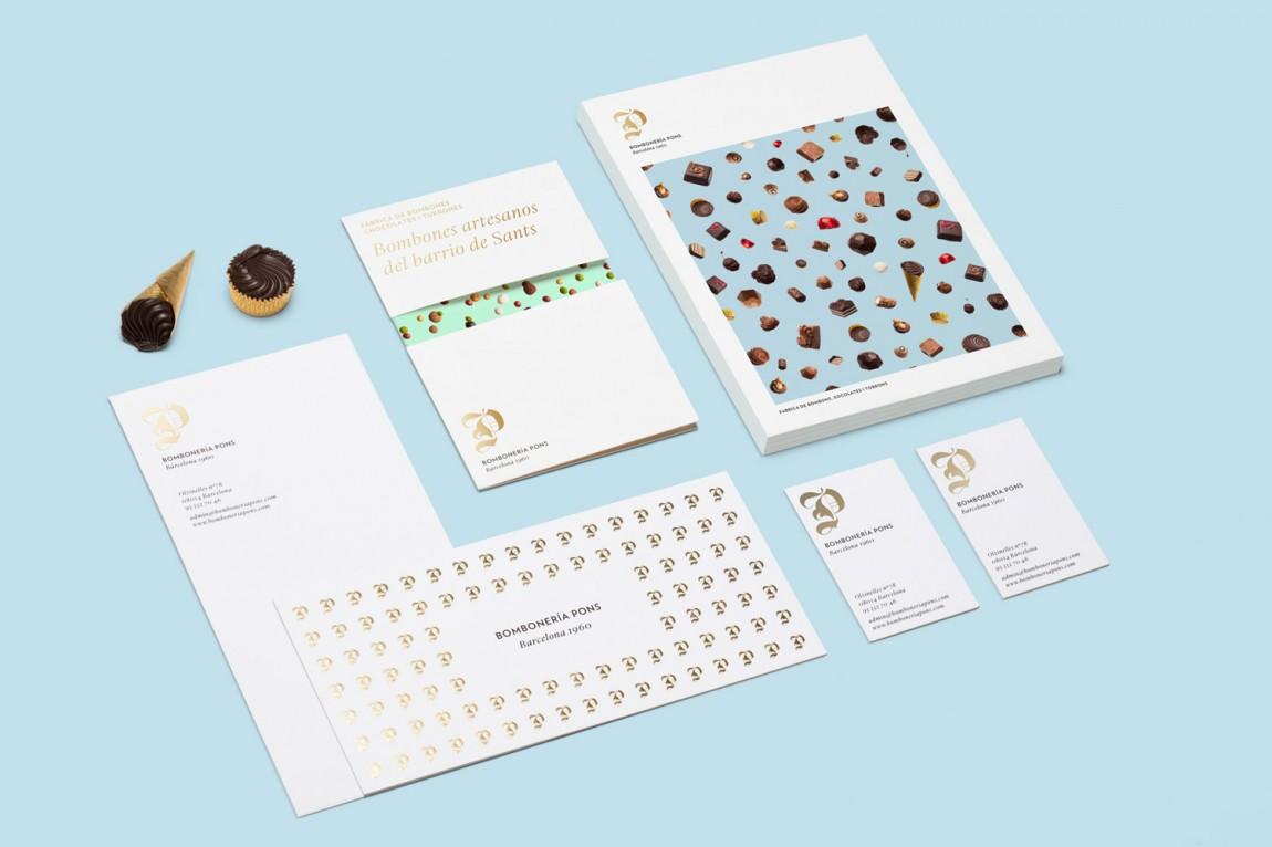 巴塞罗那手工巧克力企业 Bombonería Pons 创意品牌logo设计:VI设计