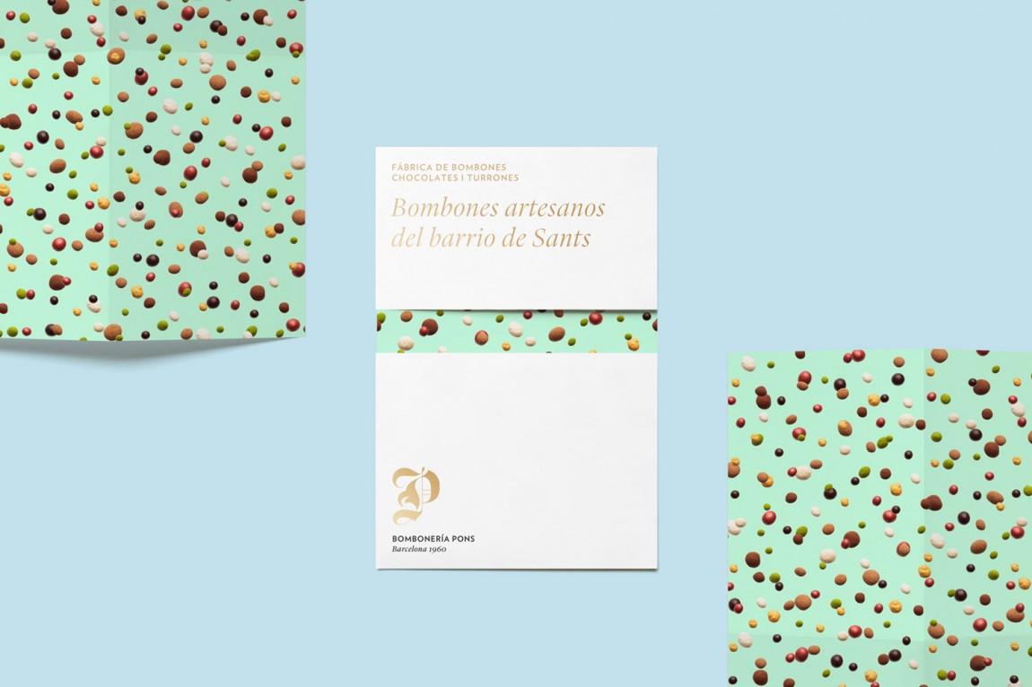 巴塞罗那手工巧克力企业 Bombonería Pons 创意品牌logo设计:信封设计