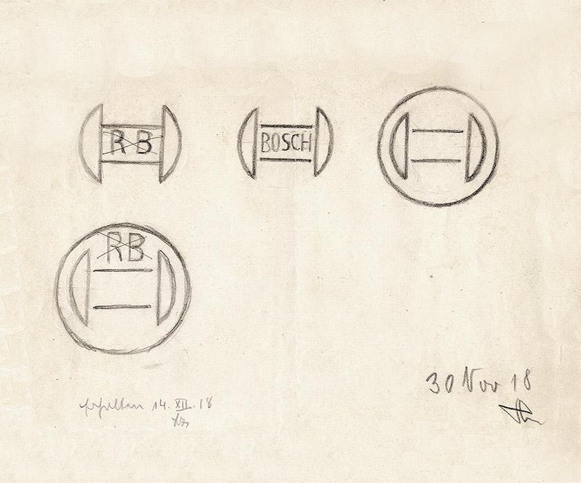 博世BOSCH公司品牌设计, logo设计手稿