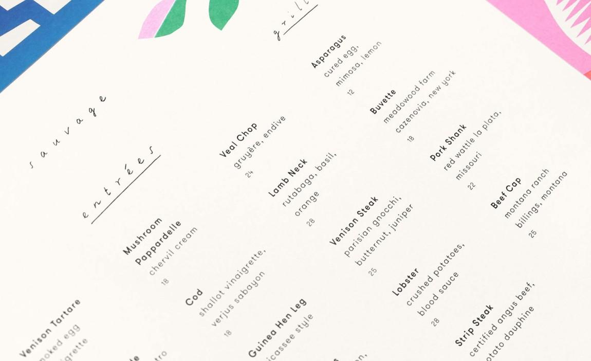 Sauvage餐厅餐饮酒吧咖啡馆品牌vi形象设计,美式欧洲风格, 菜单设计