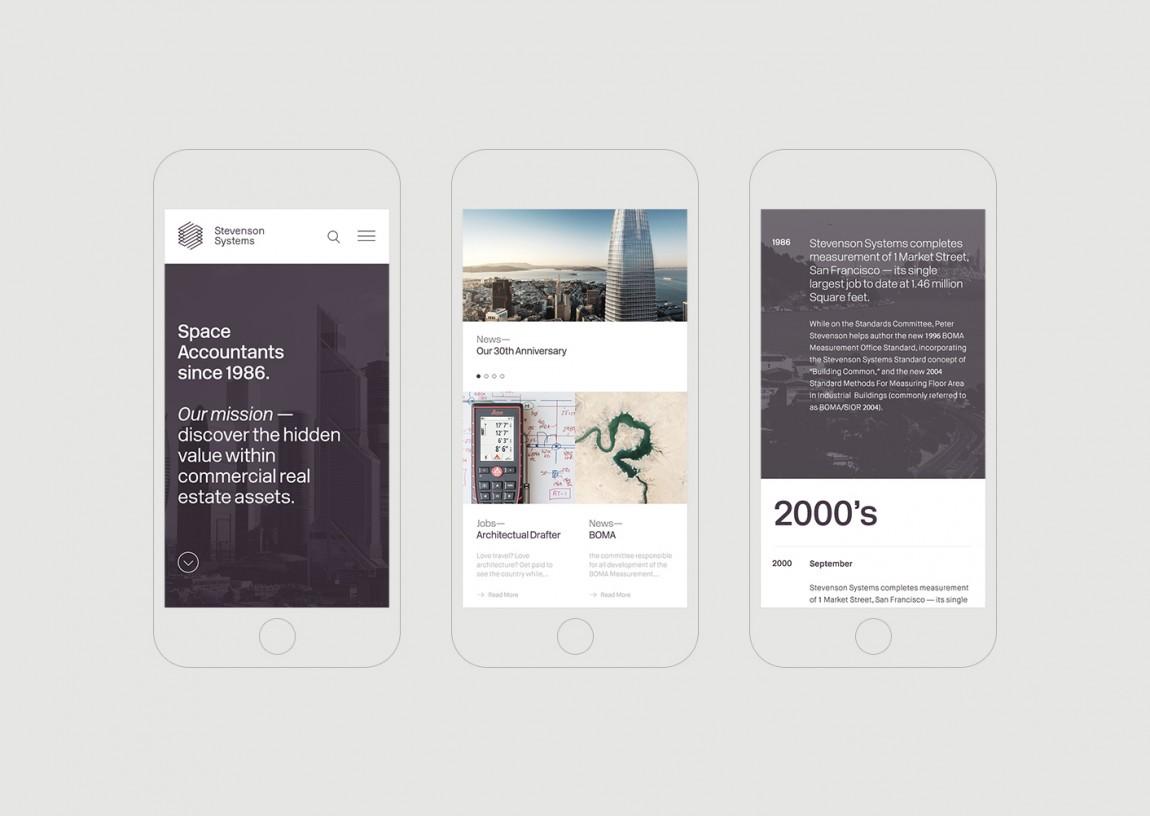 Stevenson Systems 建筑空间咨询公司品牌形象塑造全案设计,手机网站设计