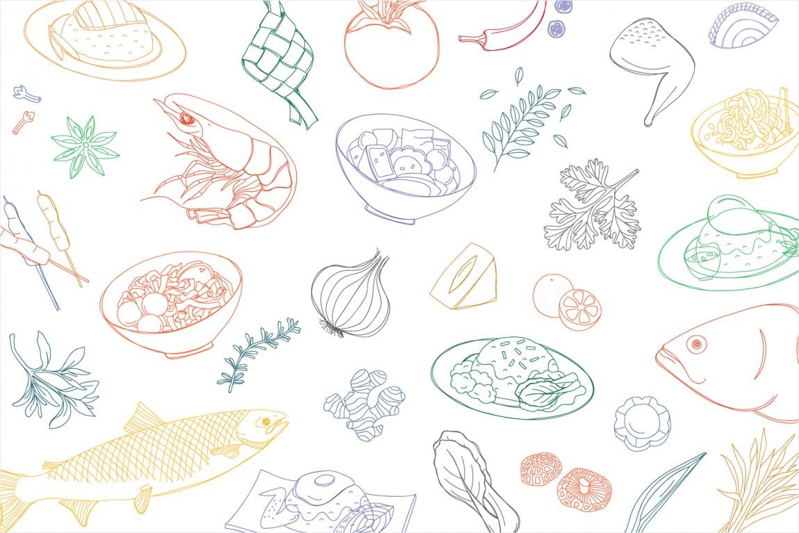 新加坡EAT美食节视觉识别形象设计,包装纸设计