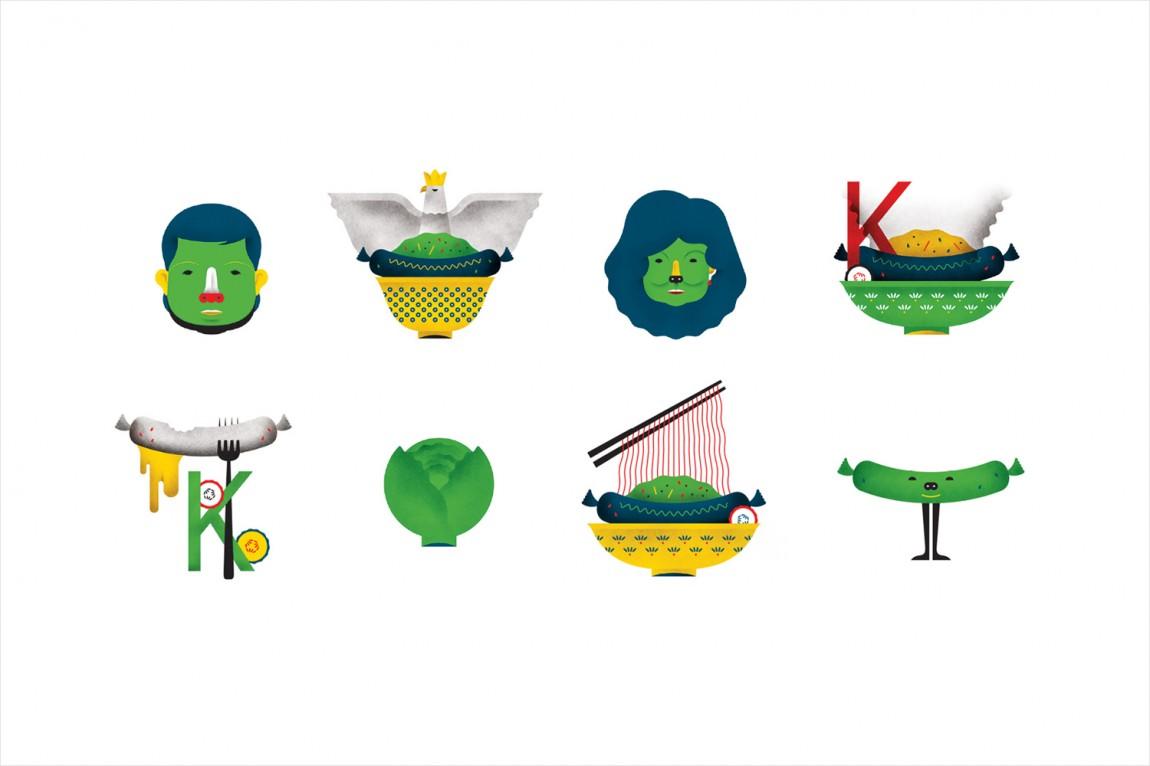 Kimski韩式餐厅餐饮品牌形象设计,图形元素设计