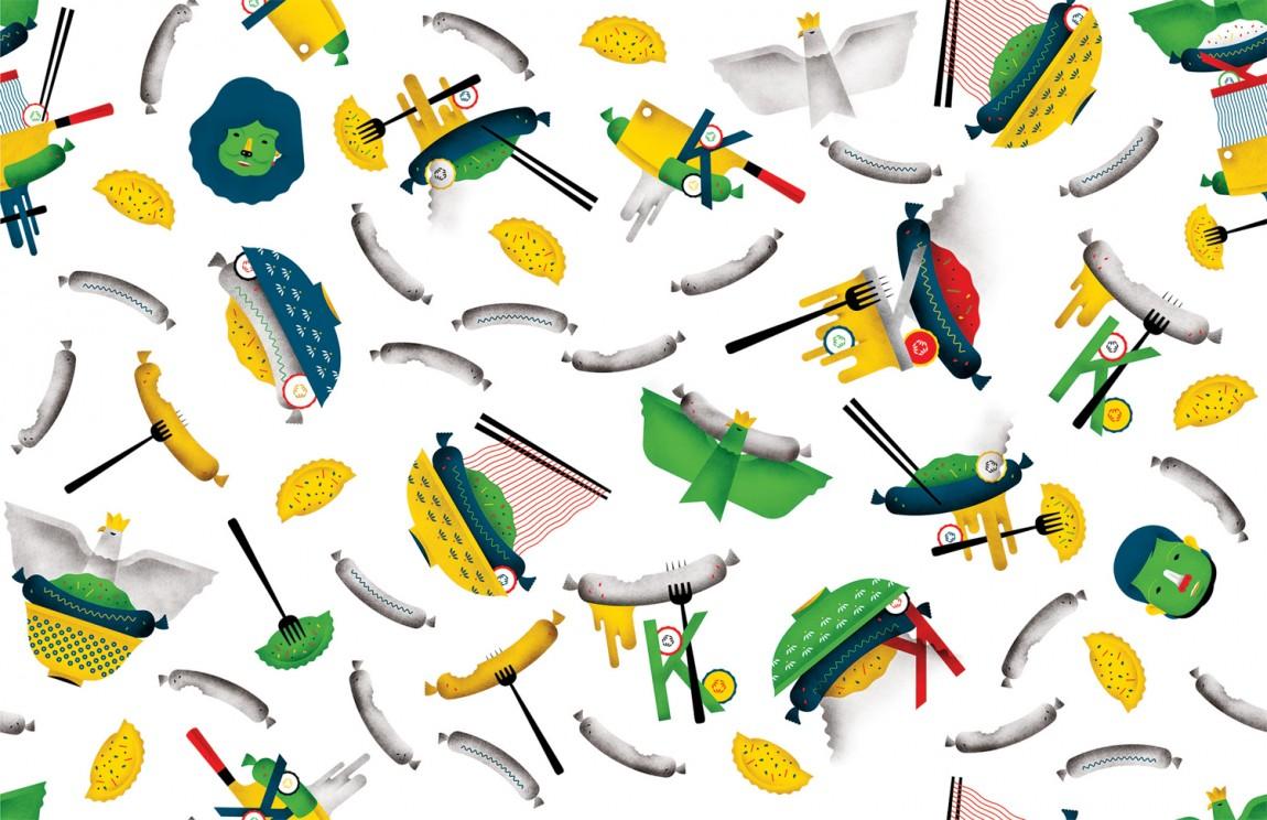 Kimski韩式餐厅餐饮品牌形象设计,品牌图形设计