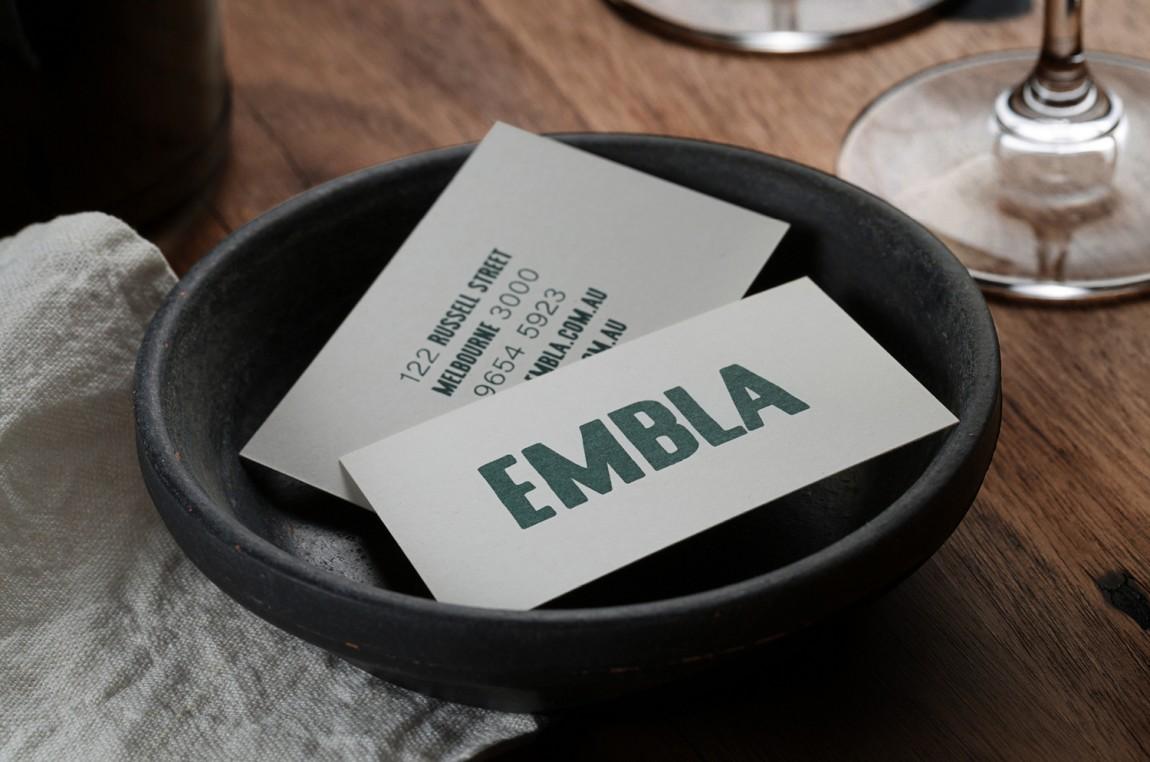 酒吧餐厅Embla餐饮品牌形象设计包装方案,名片设计