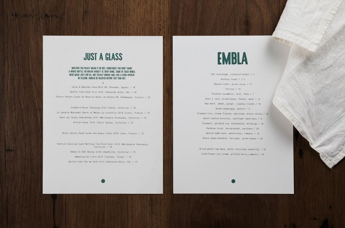 酒吧餐厅Embla餐饮品牌形象设计包装方案, 菜单设计