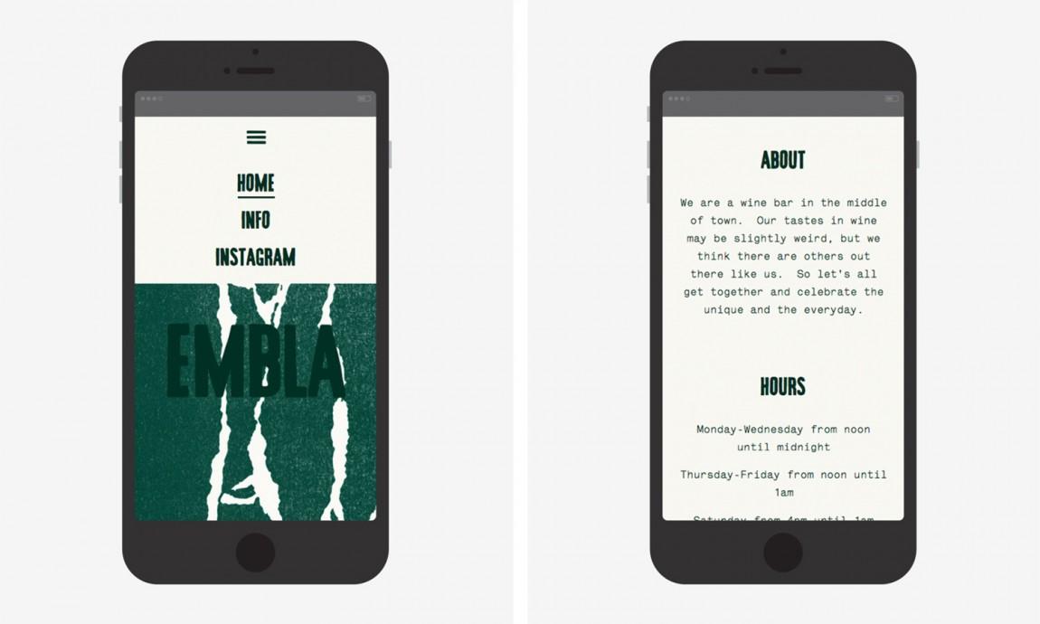 酒吧餐厅Embla餐饮品牌形象设计包装方案, 网站设计