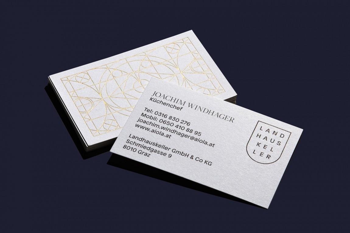 Landhauskeller国外餐饮品牌设计,酒吧餐厅VI设计,名片设计