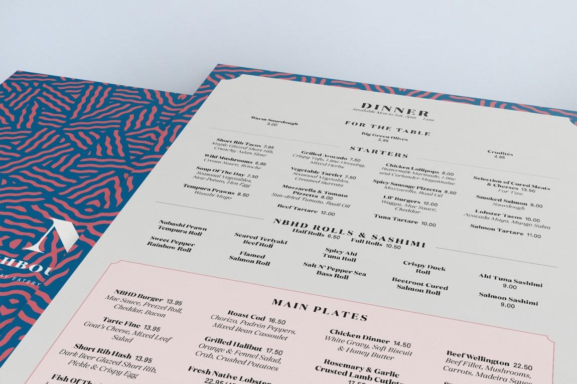 餐厅酒吧Neighbourhood品牌形象设计,菜单设计