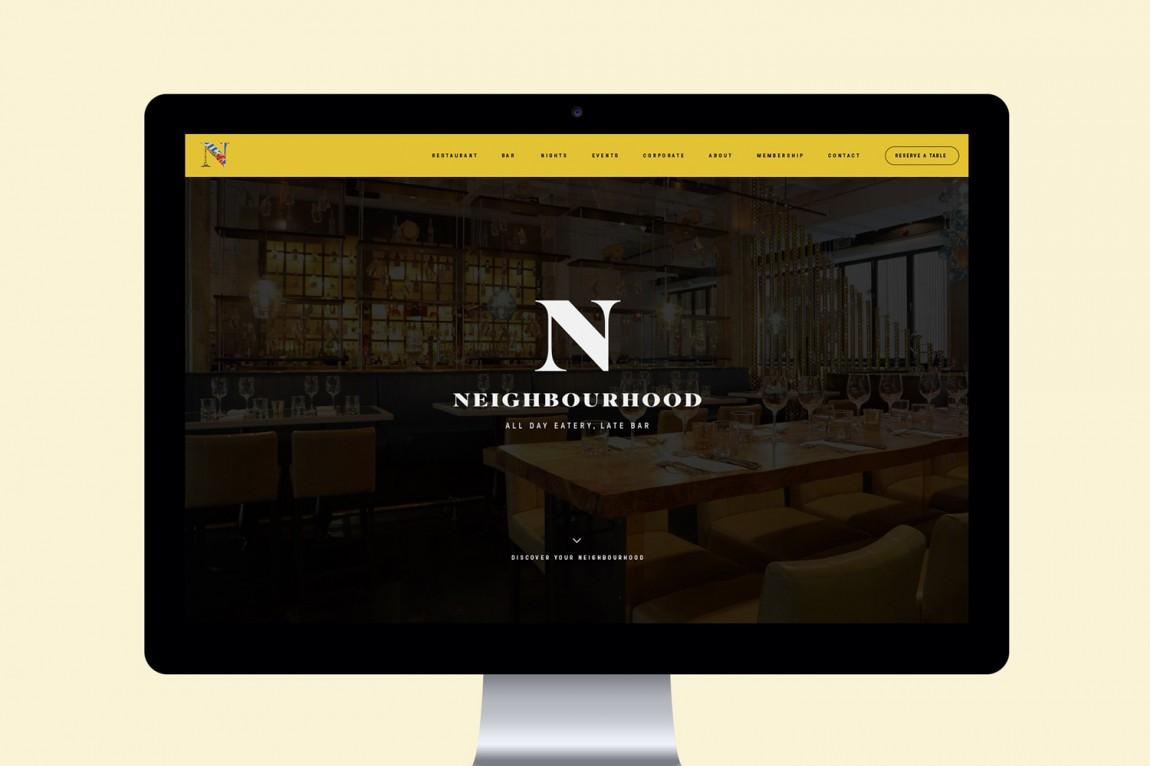 餐厅酒吧Neighbourhood品牌形象设计,企业网站设计