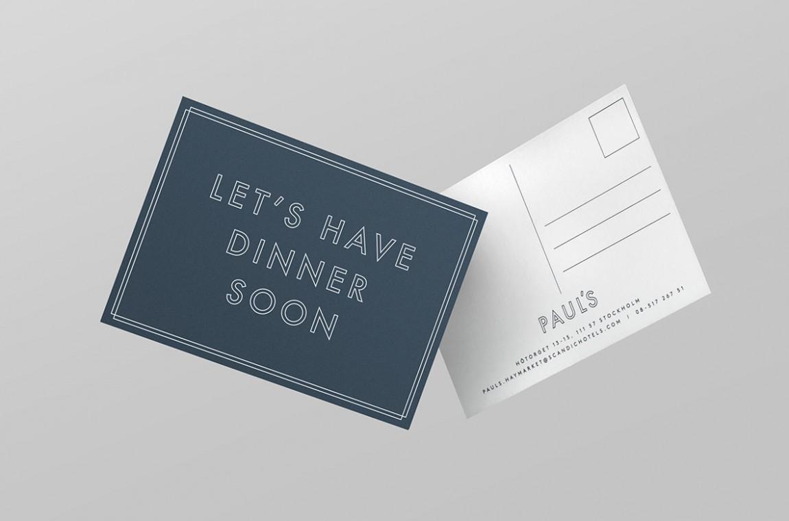 Haymarket酒店的餐厅平面设计, 留言卡设计