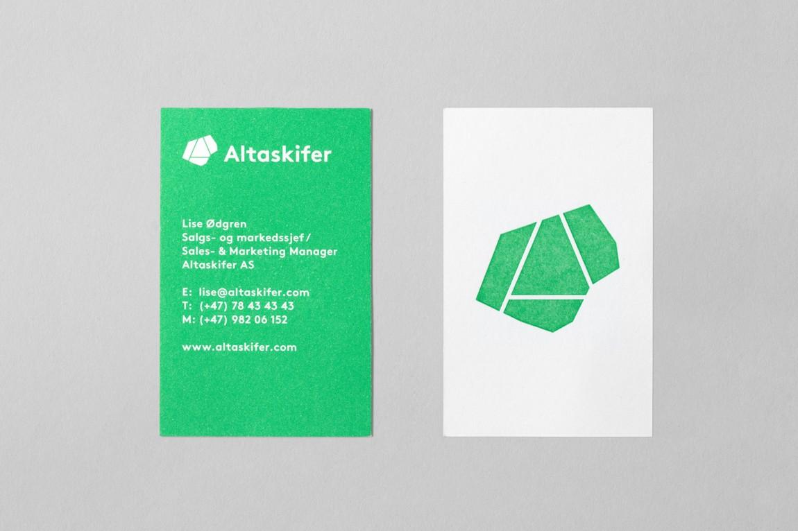 挪威石料公司Altaskifer的新品牌vi设计,名片设计
