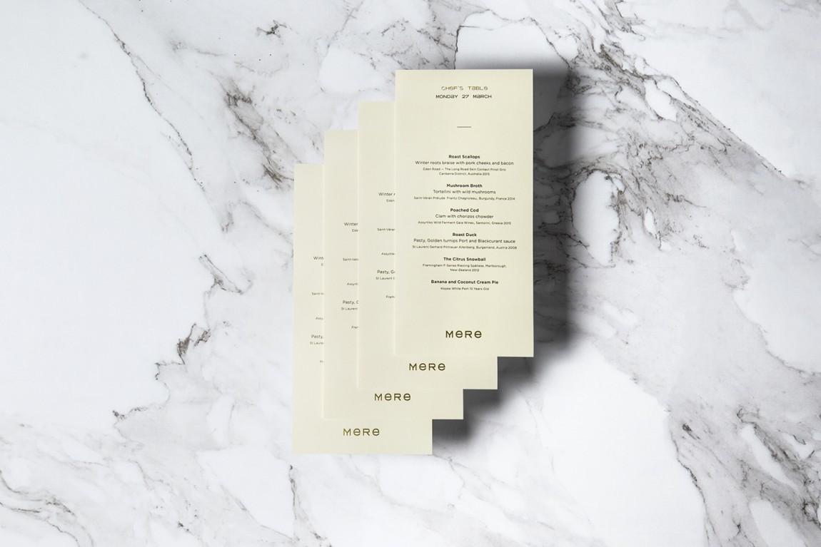 餐厅酒吧Mere餐饮品牌设计, 台卡设计