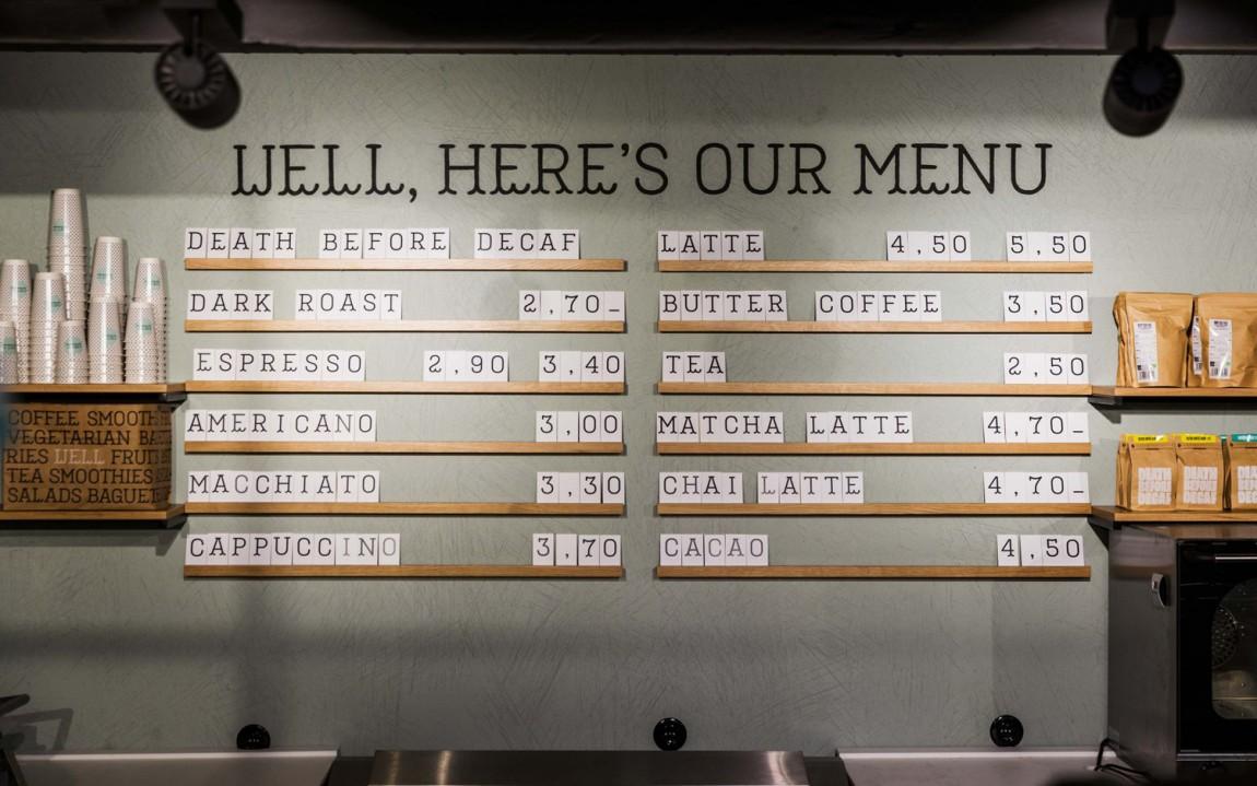 Well Coffee素食咖啡品牌形象塑造,点餐台设计