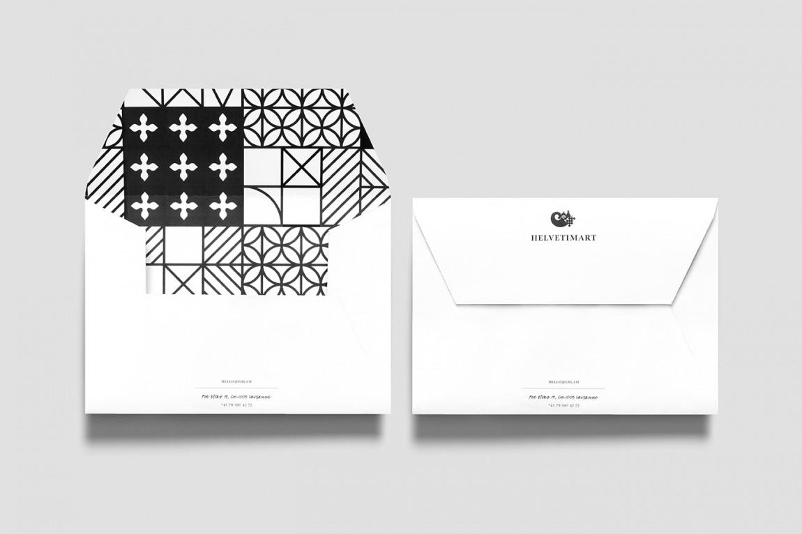 Helvetimart超市企业品牌形象vi设计,信封设计