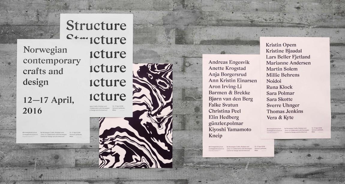 挪威当代工艺与设计展vi形象设计,海报设计
