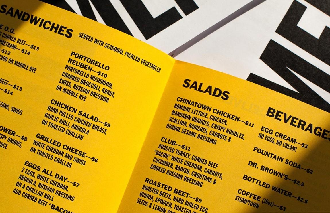 快餐连锁企业On Rye餐饮品牌全案设计,菜单设计