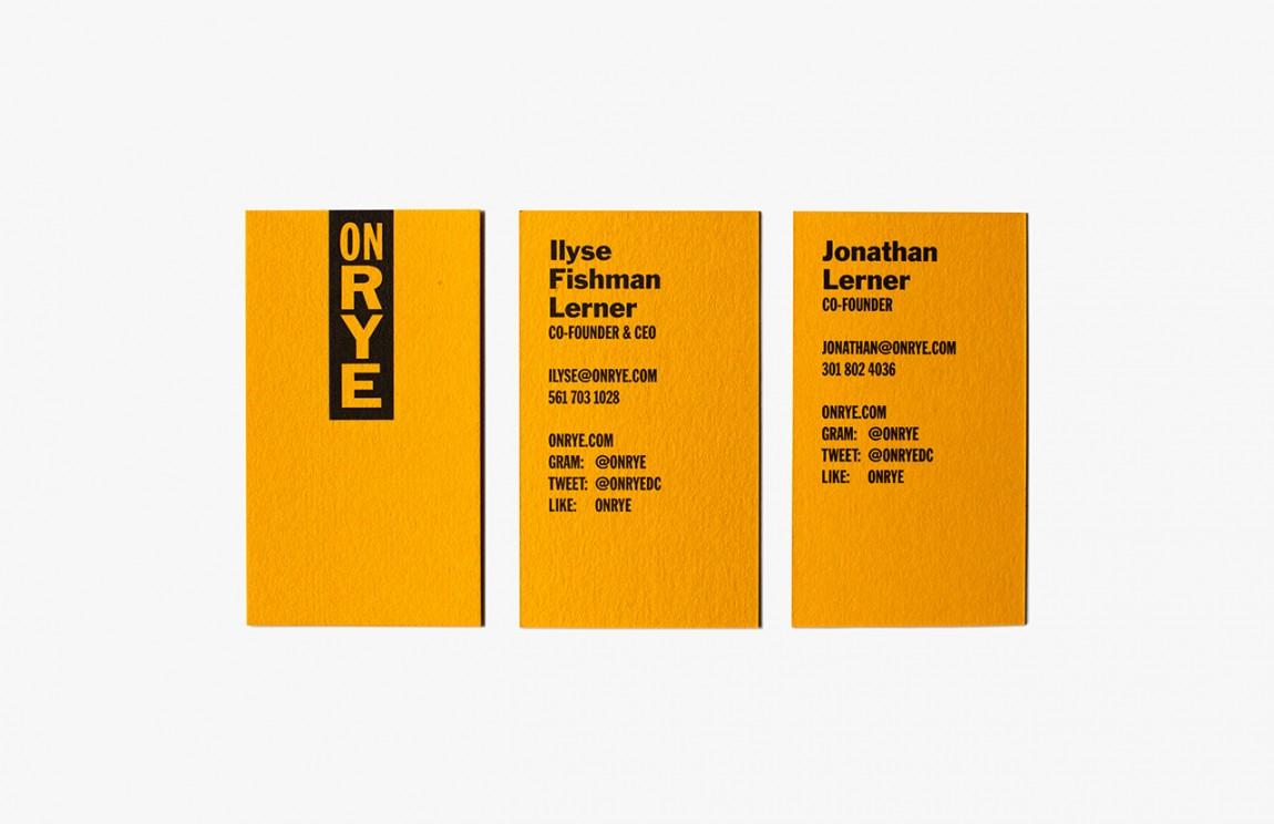 快餐连锁企业On Rye餐饮品牌全案设计,名片设计
