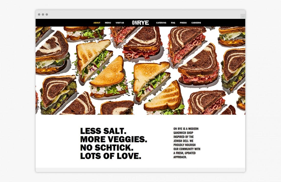 快餐连锁企业On Rye餐饮品牌全案设计,网站设计