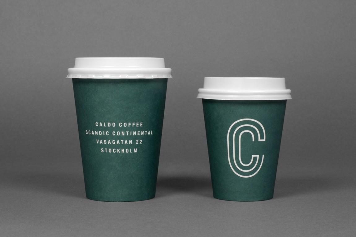 轻食咖啡馆Caldo连锁品牌标志logo设计,杯子设计