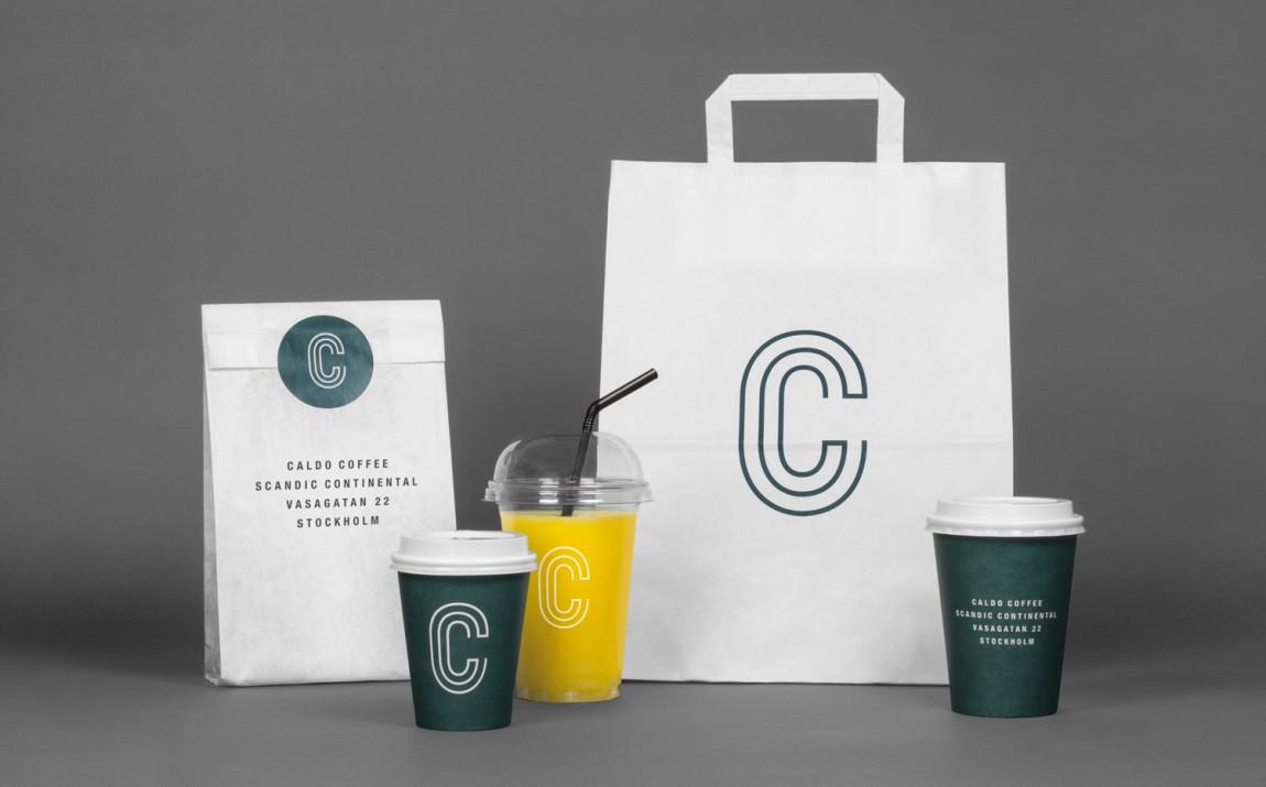 轻食咖啡馆Caldo连锁品牌标志logo设计,餐饮VI设计