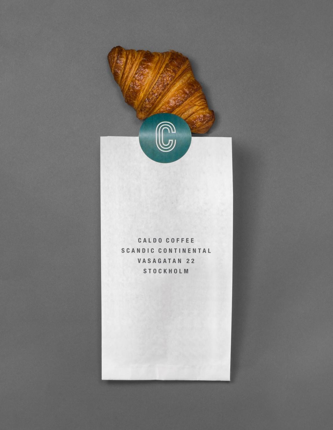 轻食咖啡馆Caldo连锁品牌标志logo设计,袋子设计