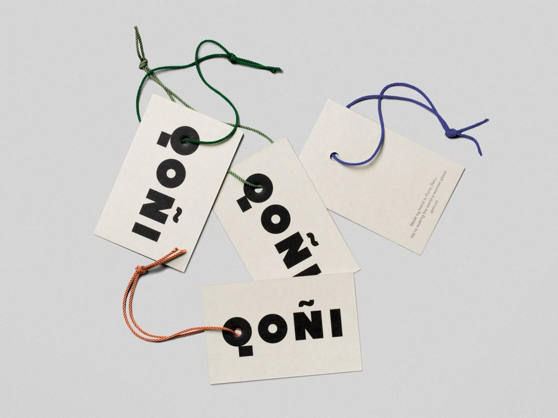 手工工匠服饰Qoni品牌形象设计,吊牌设计