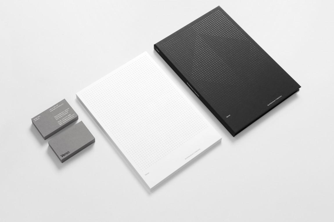 Verso建筑空间设计公司企业形象VI设计, 办公应用设计