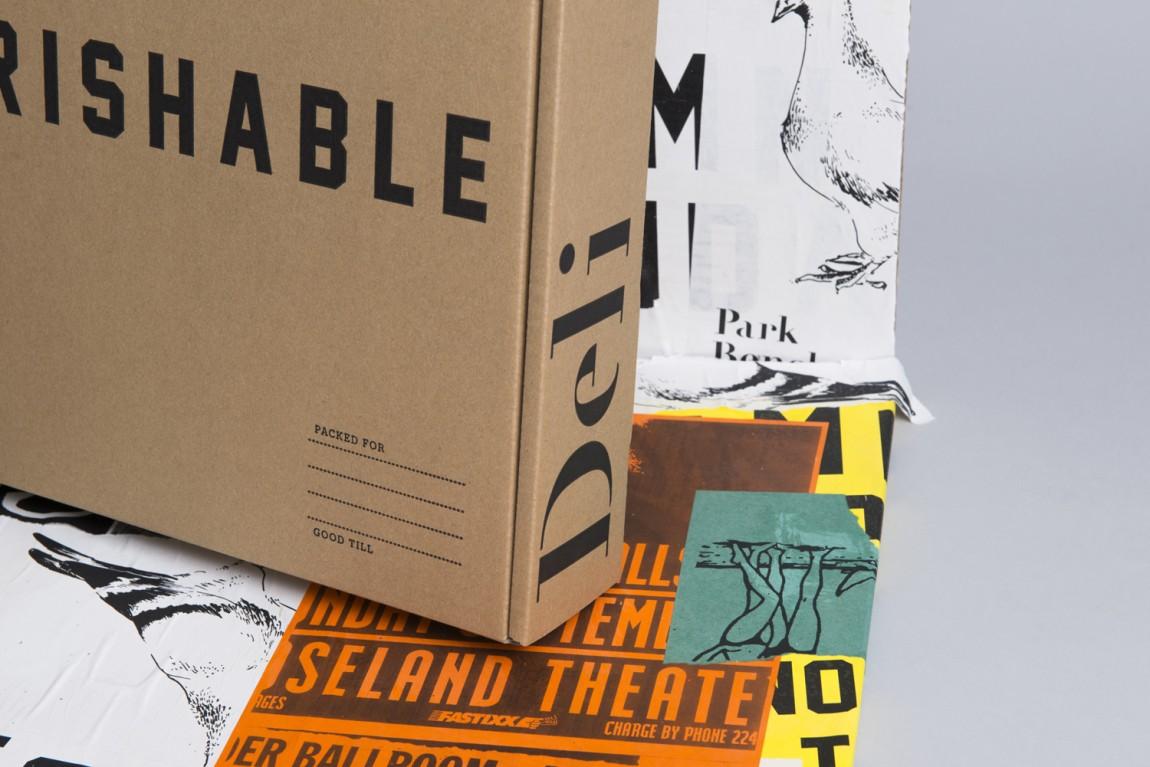 美式乡村自然复古熟食店PBD品牌形象VI设计,外卖包装盒设计