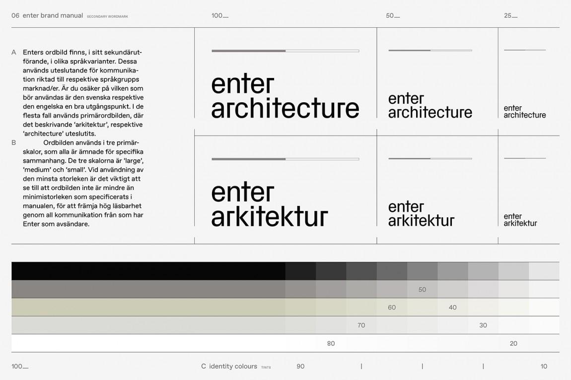 瑞典建筑公司Enter Arkitektur整体形象设计,字体设计