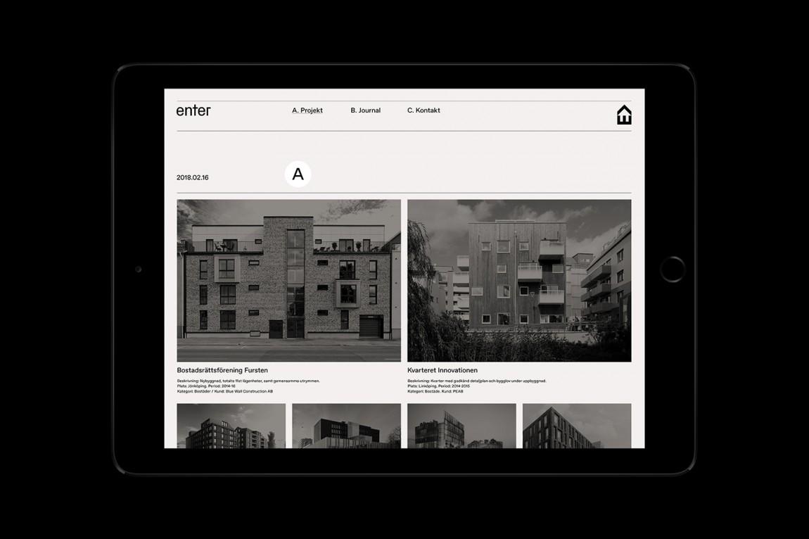 瑞典建筑公司Enter Arkitektur整体形象设计,网站设计