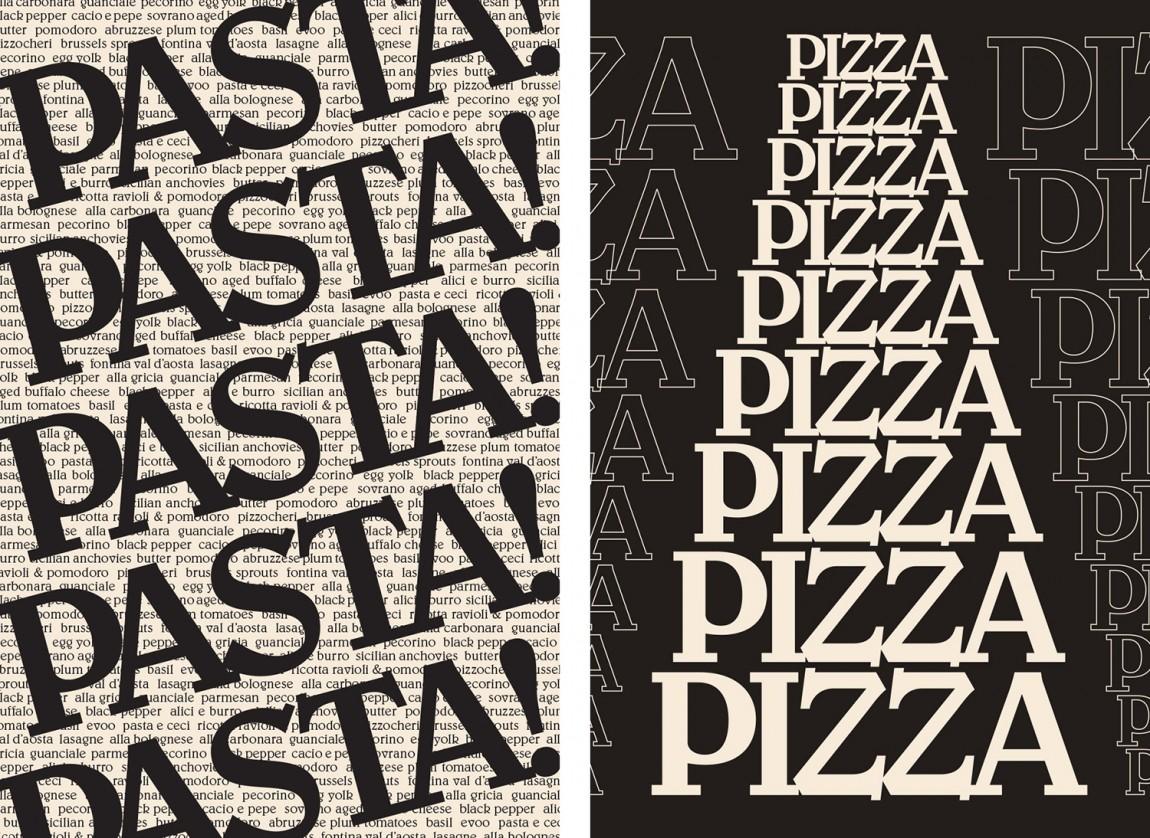 意大利健康饮食餐厅Di Beppe餐饮品牌设计,字体设计