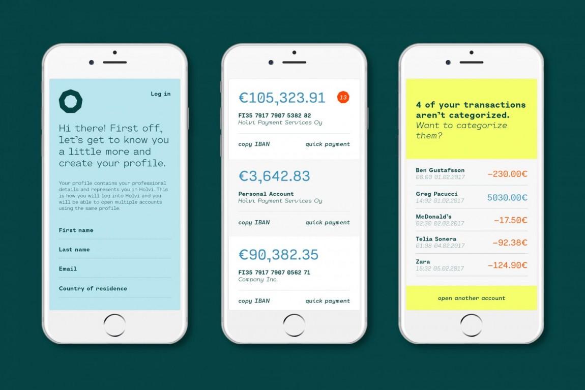Holvi金融数字银行cis企业形象设计,宣传广告设计, app设计