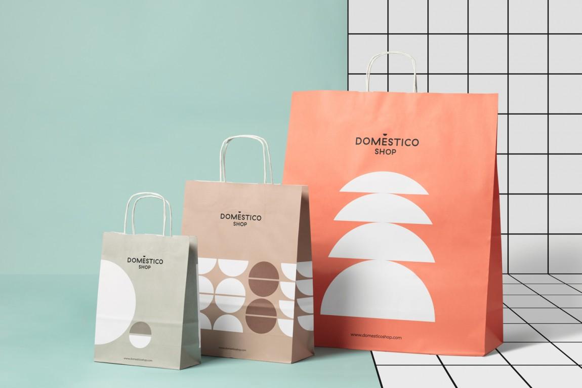 DomesticoShop在线零售家居领导品牌vi形象设计,手提袋设计