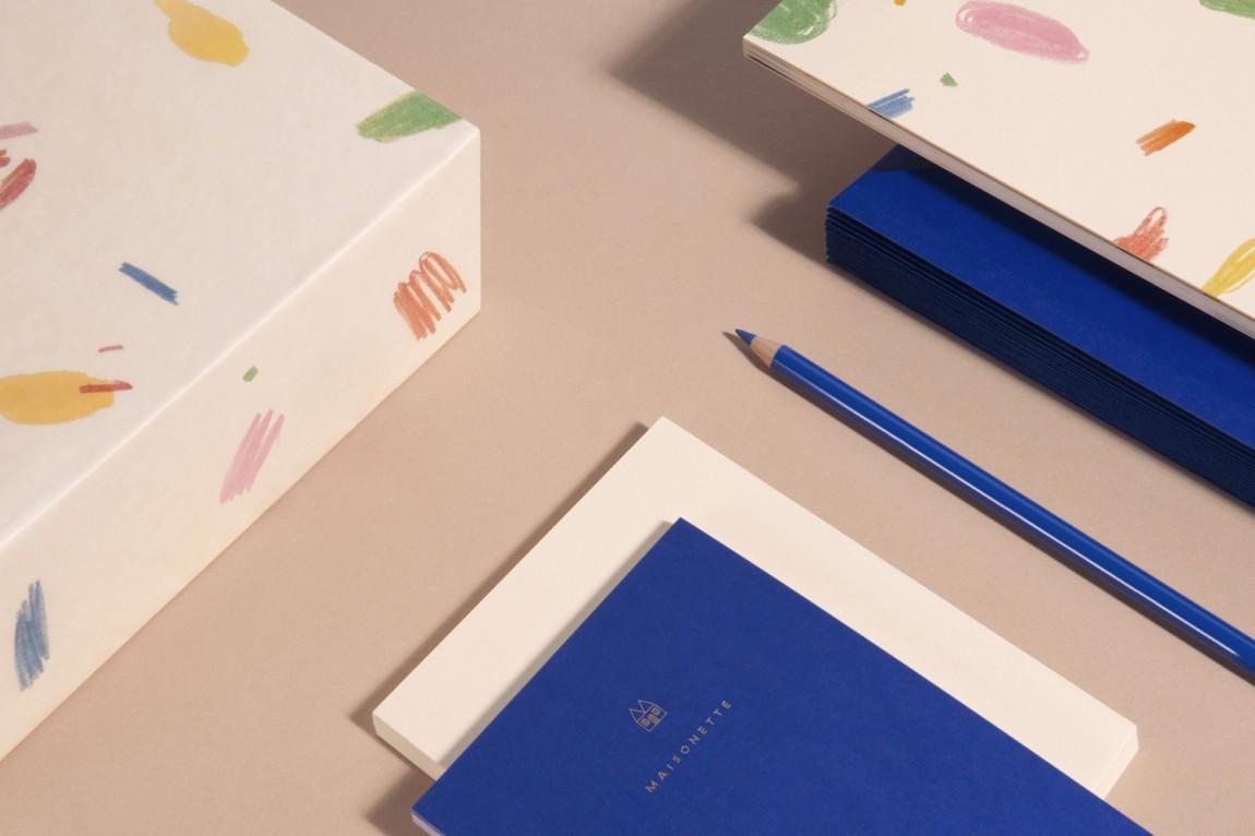Maisonette儿童奢侈品牌在线零售商企业形象包装设计,文具设计