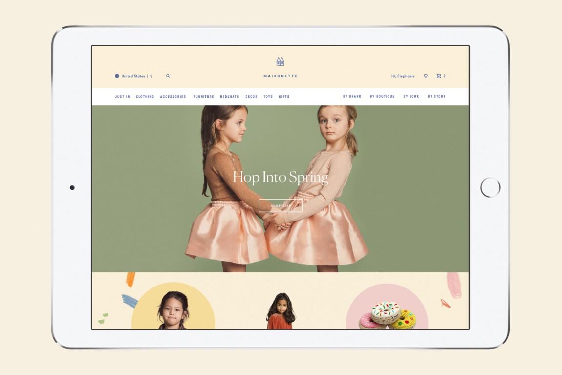 Maisonette儿童奢侈品牌在线零售商企业形象包装设计,网站设计