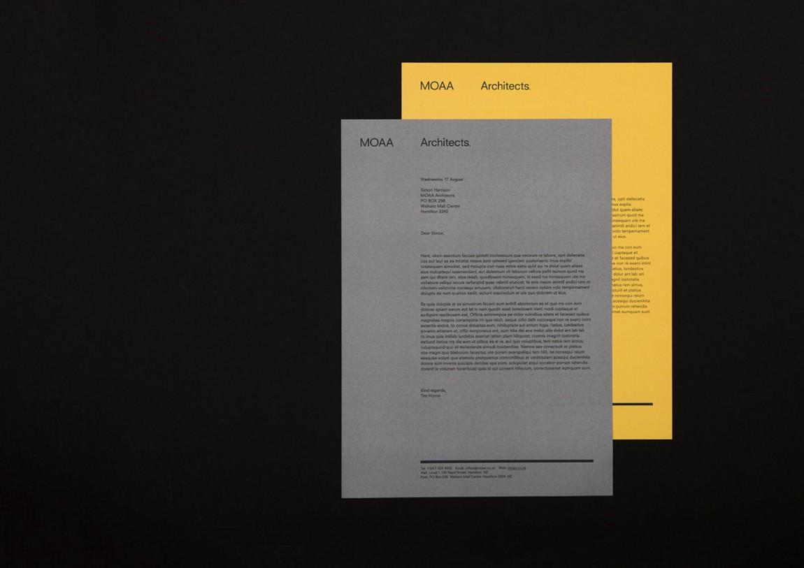 MOAA Architects建筑空间企业形象设计, 信纸设计