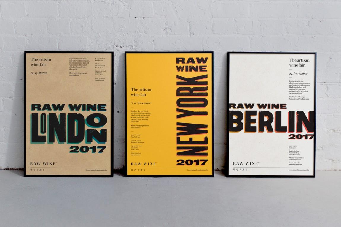 Raw Wine葡萄酒交易会品牌形象塑造,精心制作并充满个性,海报设计