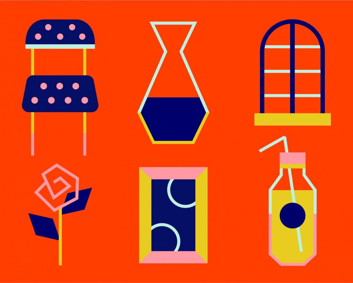 Helio联合办公空间企业形象设计,插画设计