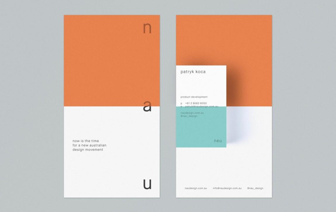 澳大利亚NAU家具品牌vi设计,国际大牌的有趣表达, 名片设计