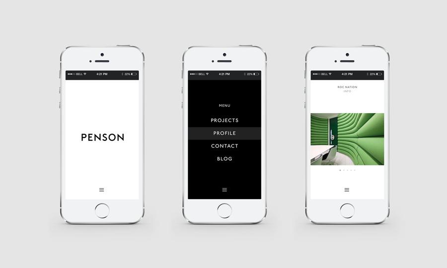 Penson室内设计公司商标设计,vi设计,手机网站设计