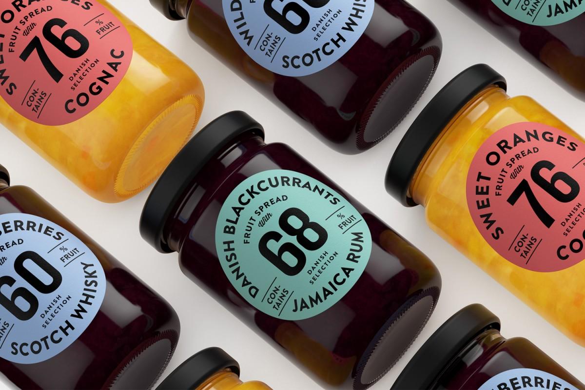 Package design for fruit spread range Danish Selection by Kontrapunkt